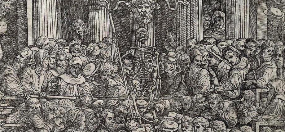Détail du frontispice de De humani corporis -Vesalius-