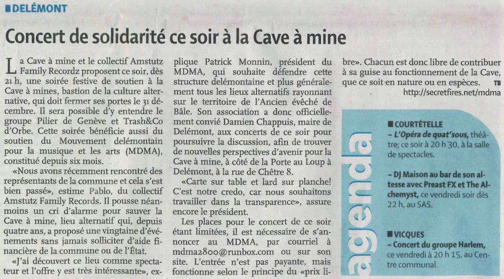 2015-10-30 - LQJ - Concert de solidarité ce soir à la Cave à mines