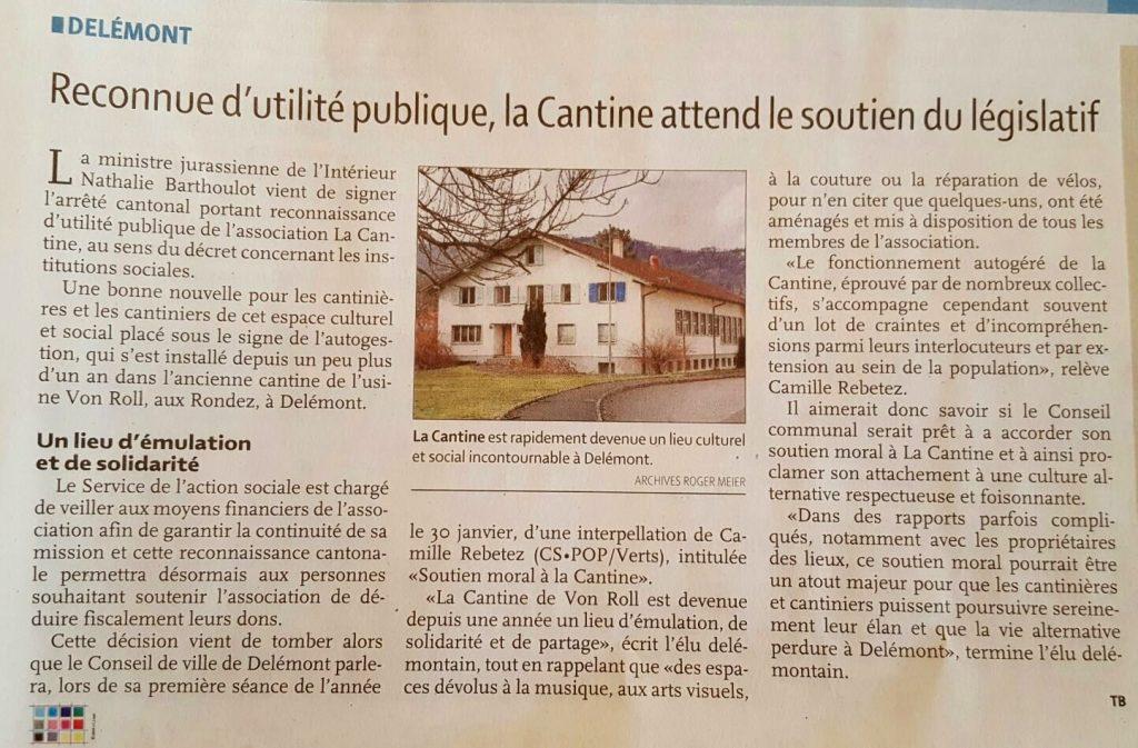 """""""Reconnue d'utilité publique, la Cantine attend le soutien du législatif"""" (LQ"""